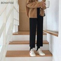 Женские брюки до щиколотки, простые, элегантные, универсальные, черные, тонкие, для студентов, женские прямые брюки, корейский стиль, высокое...