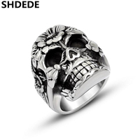 SHDEDE Mens 316l Stainless Steel Ring Vintage Fashion High Quality Retro Style Punk Skull Ring Jewelry