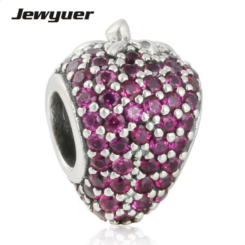Summer collection Pave Strawberry charms 925 Sterling Silver animals charm Fit bead Bracelet DIY for women fine jewelry BE361