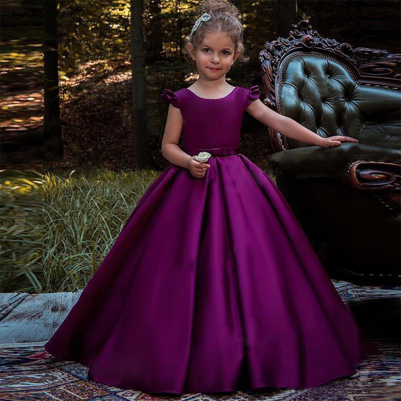 Simple Purple Satin A Line   Flower     Girls     Dresses   Cap Sleeves Children Birthday Party Gowns With Bow robe mariage fille