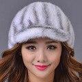 Норки Шляпа женская Реального Норки Visor Cap Теплая Зима Меховая Шапка Мода дамская Настоящее Меховая Шапка