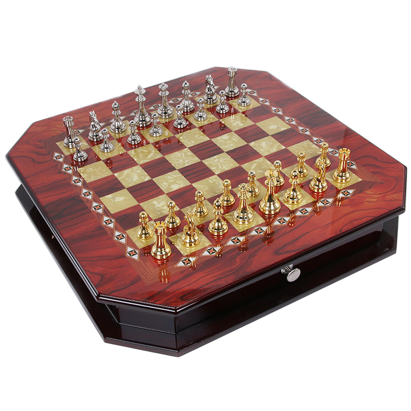 BSTFAMLY wood chess set, box chessboard of international chess, metal pieces chess game, chessboard 55*55*10cm, LA34 three hands box set of 3 wood dice white