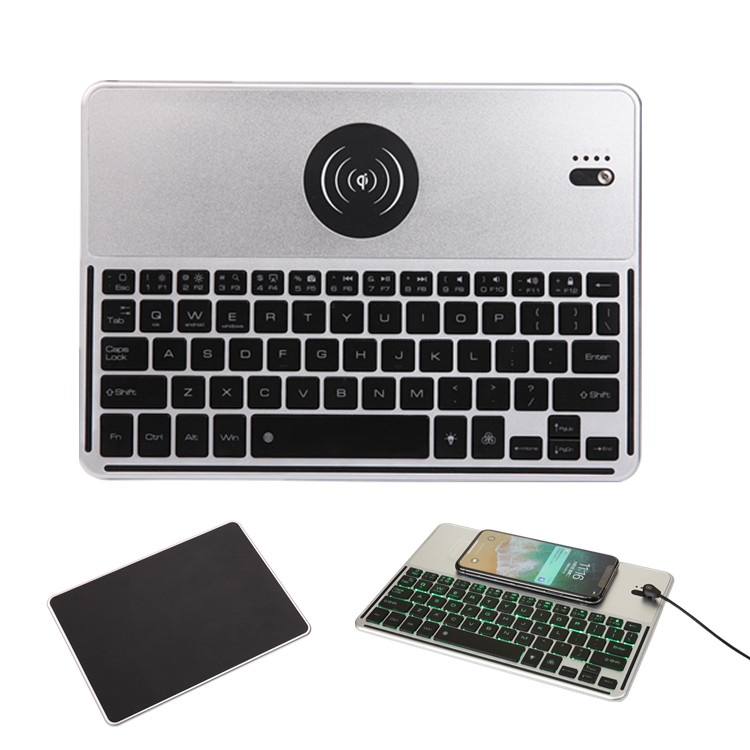 2018 Hot New Products 7 colors Led backlit Universal  Mini Bluetooth keyboard with QI Wireless Charger for Universal Tablet Case aluminum keyboard case with 7 colors backlight backlit wireless bluetooth keyboard