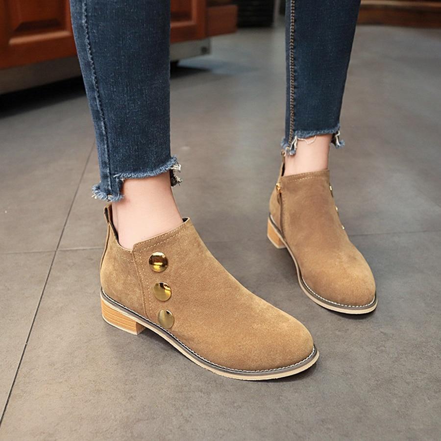 b54f9b35ce Lady Retro Botón Khaki Slip Mujeres Suede Boots Chic Boots Metal Zipper  Mlanxeue Zapatos Botas Martin black Cortas Mujer Side Tobillo ...