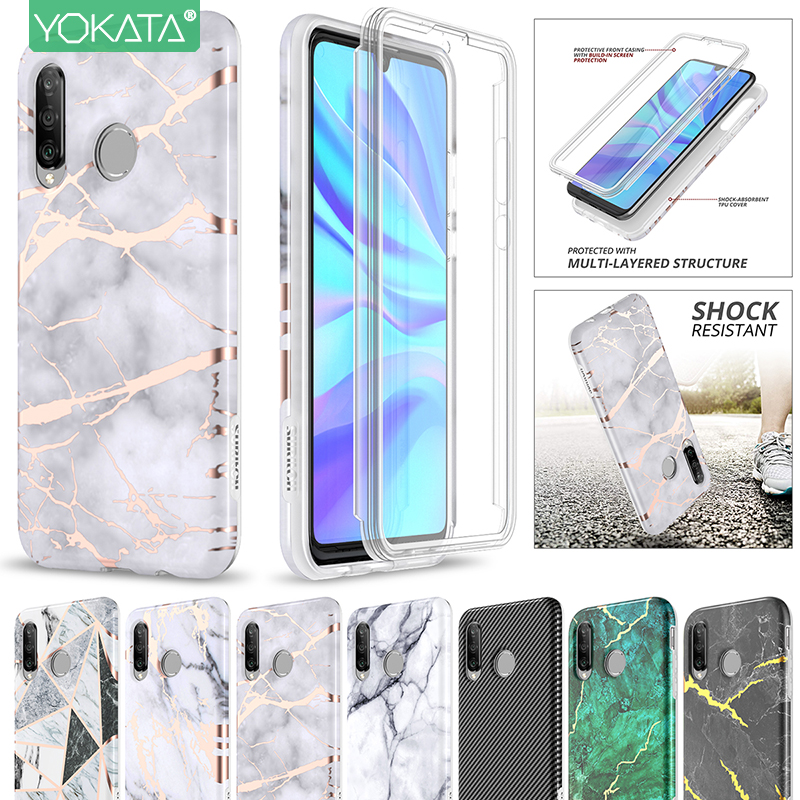 Yokata Soft Case for Huawei P30 lite 360 Case 2 in 1 Shockproof Bumper Cover with Built in Screen protector for Huawei P30 lite
