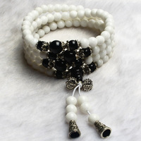Natural White Chalcedony Black Agate Bead Round Tibetan Silver Charms Lucky Jade Healing Bracelets Chain Women