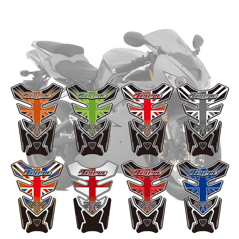 Motorcycle Fishbone Protector Sticker 3D Rubber Sticker Motorcycle Tank Sticker For Triumph Speed Street Triple Daytona