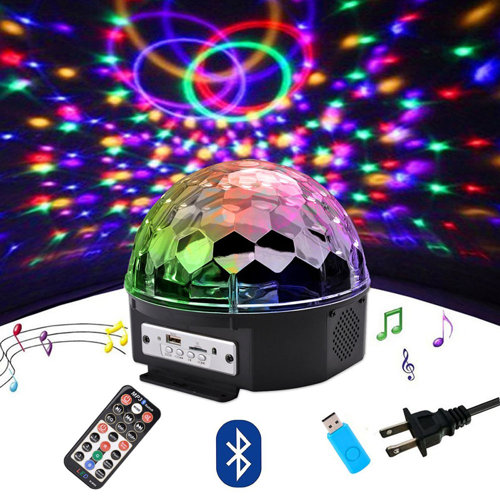 Bluetooth MP3 Disco Party Lights 9 Color LED Rotating Crystal Magic Ball Light With Remote Voice