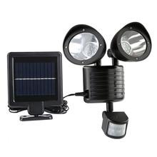 Energy Saving Double Solar Flood Lamp For Street Yard Home Garden 22 Led Pir