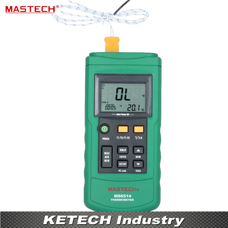 Dual Channel Digital Thermometer Temperature logger Tester with USB Interface 1000 sets data KJTERSN Thermocouple MASTECH MS6514 free shipping mastech ms6514 single channel temperature acquisition instrument thermocouple thermometer self calibration tester