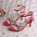 Wedopus Простой Дизайн Вино Красный Кристалл Люкс Женщины Сандалии для Свадьбы Середине Пятки Небольшой Размер