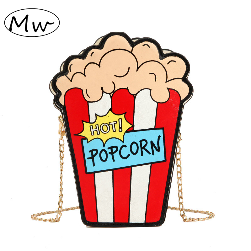 Gewidmet Spaß Popcorn Form Kupplung Tasche Kette Umhängetasche Nette Zipper Telefon Tasche Damen Kleine Geldbörse Und Handtaschen Frauen Schulter Tasche 2019 Crossbody-taschen Gepäck & Taschen