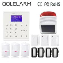 QOLELARM 433mhz Spanish/Spanish Menu WIFI GSM Home Alarm System Motion Sensor Wireless Strobe Siren Outdoor For Home Security