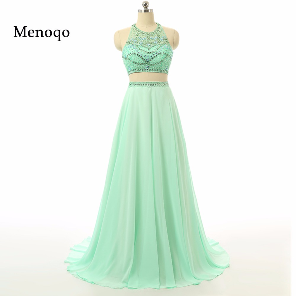 2017 Real Photo Mint Green A line Long train Beaded Halter Neck Chiffon Formal Gowns Robe De Soiree Two Piece long Prom dresses