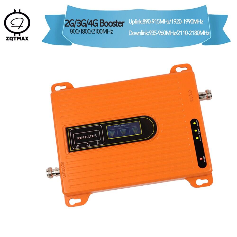 Répéteur triband ZQTMAX 70dB 2g 3g 4g amplificateur de signal répéteur gsm 900 1800 amplificateur cellulaire 2100 mhz répéteur 4g lte