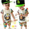 Summer Child Boys Sets Baby Boys Casual Clothes Kids Short Sleeve T Shirts+Plaid Shorts Pants 2 Pcs Sets Suits Infantis Toddlers