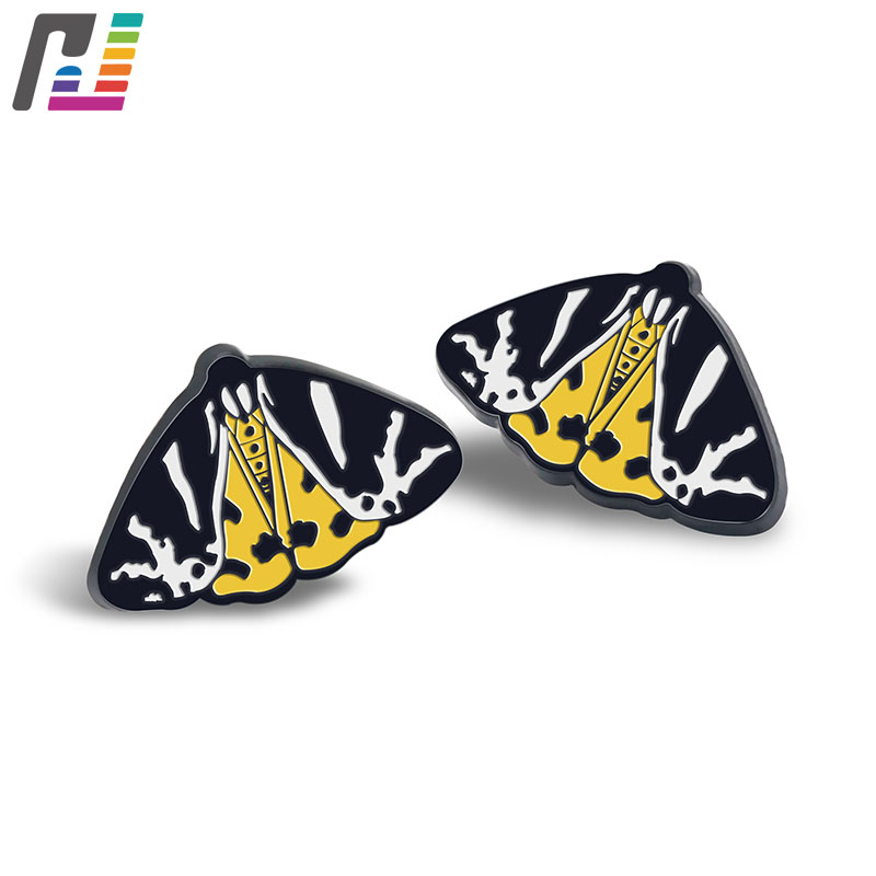 Customized Animal Lapel Pin Butterfly Pin Black Dyed Soft Enamel Brooch Pin Badge With Metal Butterfly Clutch star lapel pin