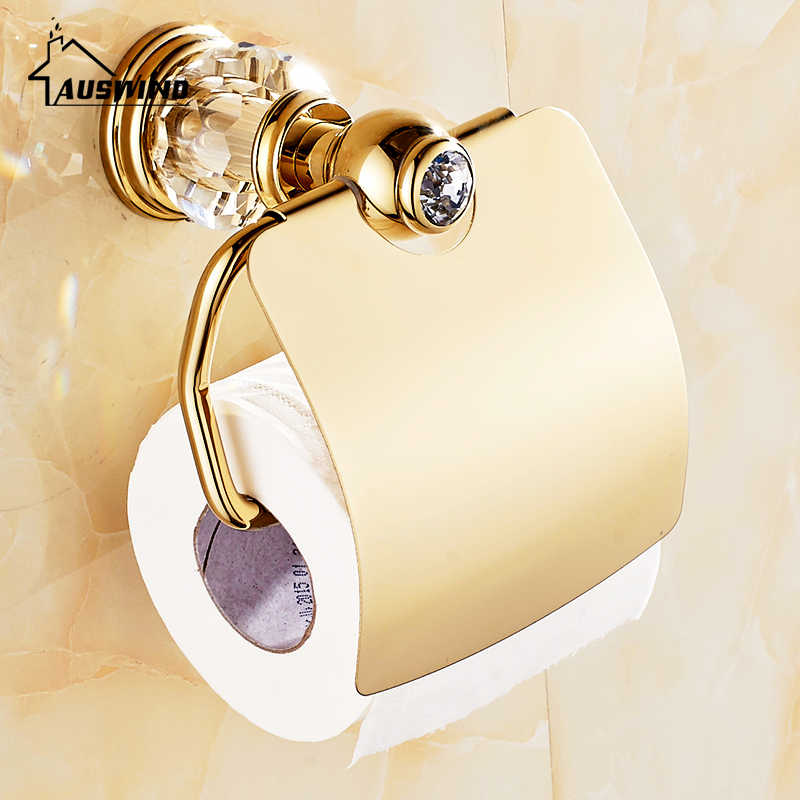 Luksusowy cyrkon złoty solidny mosiężny uchwyt na papier toaletowy polerowany wieszak na ręczniki kryształowa okrągła podstawa okrągły wieszak na ręcznik akcesoria łazienkowe