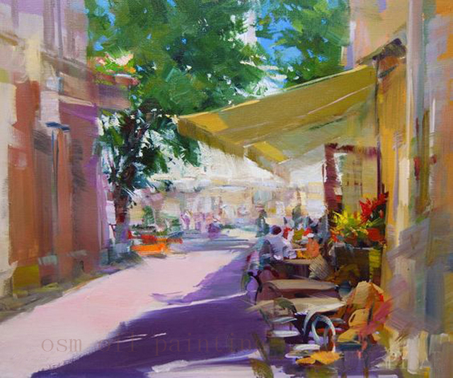 Excellent Handmade Colorful Art Summer Cafe City Painting Hand painted  GA17