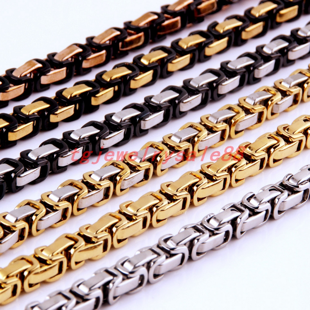Gold Plated Biker Mens Flat Byzantine Chain Jewelry 6mm Wide Stainless Steel Necklace,16-40