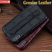 Genuine Crocodile Leather Cover Case For Iphone 6S 7 8 Plus X XS MAX XR Luxury Handmade Croco Case Ring Belt For Iphone X 6 Plus