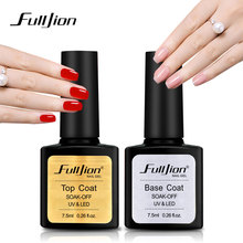 Fulljion Base Top Coat Transparente Nail Art Gel Esmalte de uñas UV LED Soak Off Larga duración Primer Laca Nail Manicure Barniz