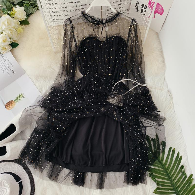 HISUMA spring autumn new women Star sequins gauze flare sleeve lace-up Princess dress female elegant o-neck mesh puff dresses 62