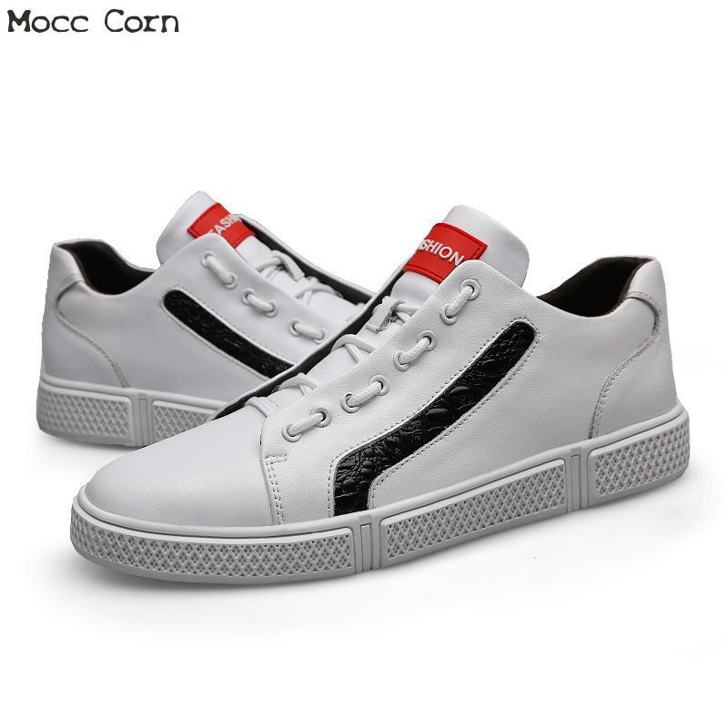 Masculino High Top Noir Chaussures Véritable Hommes Adulto De blanc Sport Plat Cuir Blanc Baskets En Décontractées Tenis Pour Formateurs hQrdtCBsx