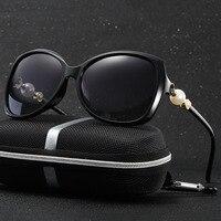 HDCRAFTER Polarized Cat Eye Sunglasses Women Brand Designer Plastic Pearl Mirror Retro Driving Sun Glasses Shades