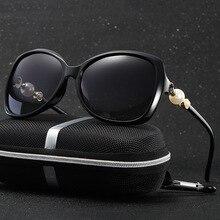 Hdcrafter поляризованный cat eye солнцезащитные очки женщины марка дизайнер пластиковые жемчужина зеркало ретро вождения солнцезащитные очки оттенки для женщин