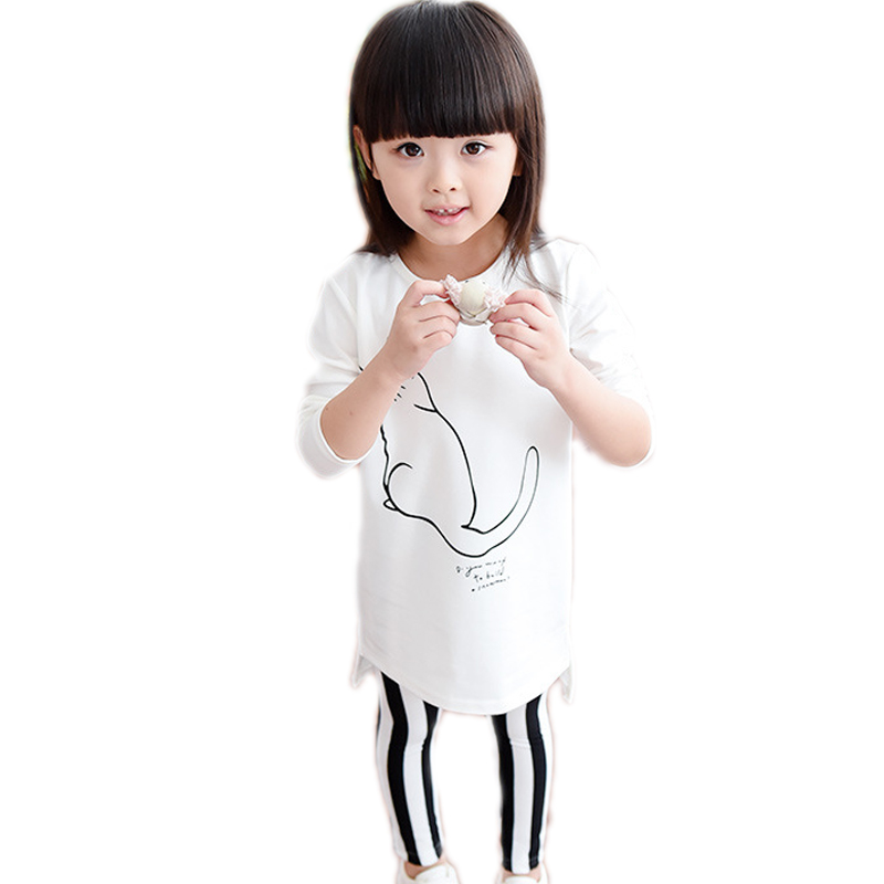 children clothing sets 2017 new autumn toddler girl clothes sets top cartoon cat printed t shirt+striped pants kids clothes 2-7T children s cotton striped t shirt pants cartoon cute kitty cat bow striped long sleeved kt baby girl s clothing set kids clothes