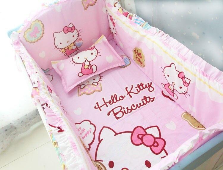 Promotion! 6 pièces Cartton bébé feuille lit ensemble de literie coton, drap de berceau pas cher bébé berceau ensemble vente (pare-chocs + feuille + taie d'oreiller)