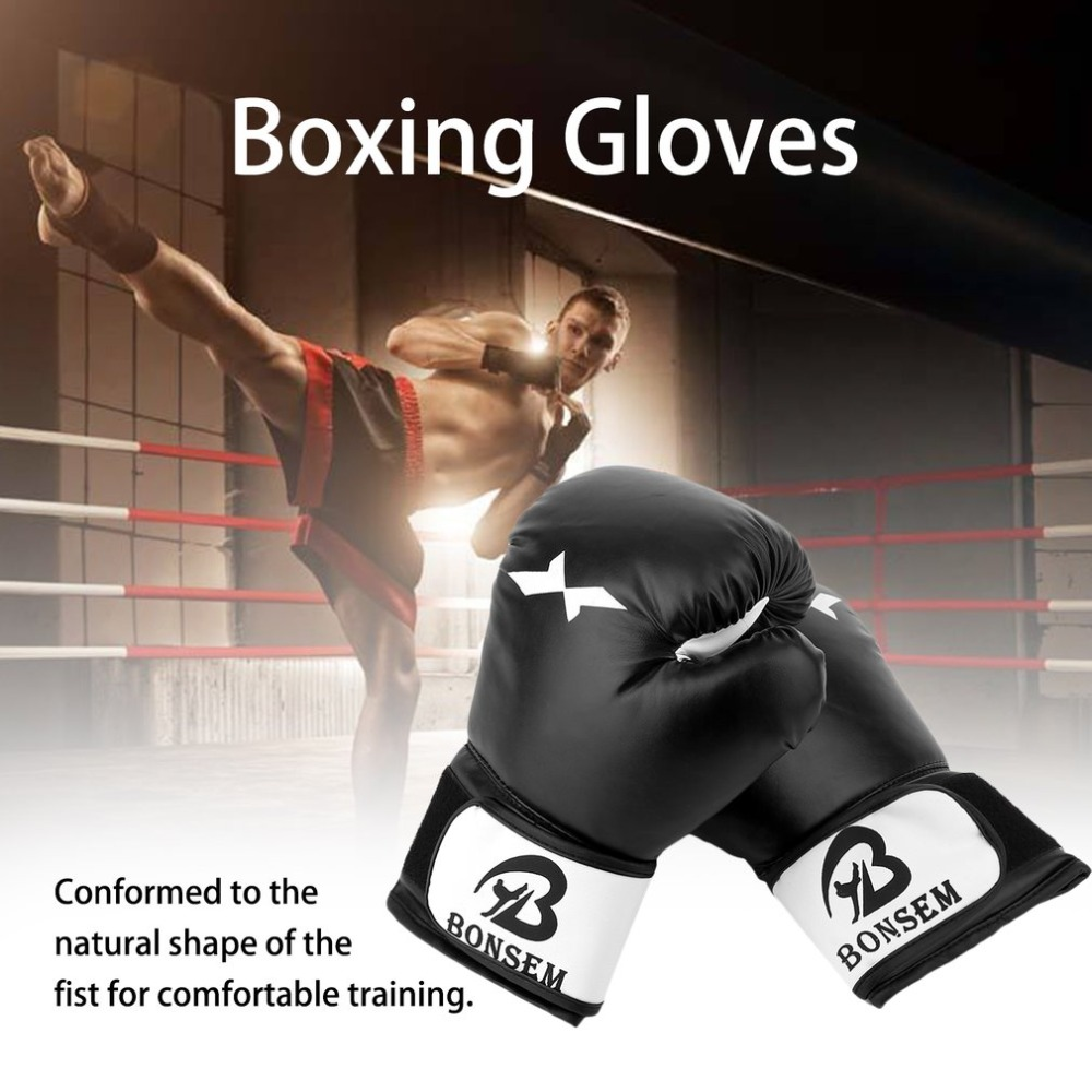 Boxing Gloves Comfortable Protective Gloves PU Leather Training Gloves Boxing Accessory Black and Red ColorBoxing Gloves Comfortable Protective Gloves PU Leather Training Gloves Boxing Accessory Black and Red Color
