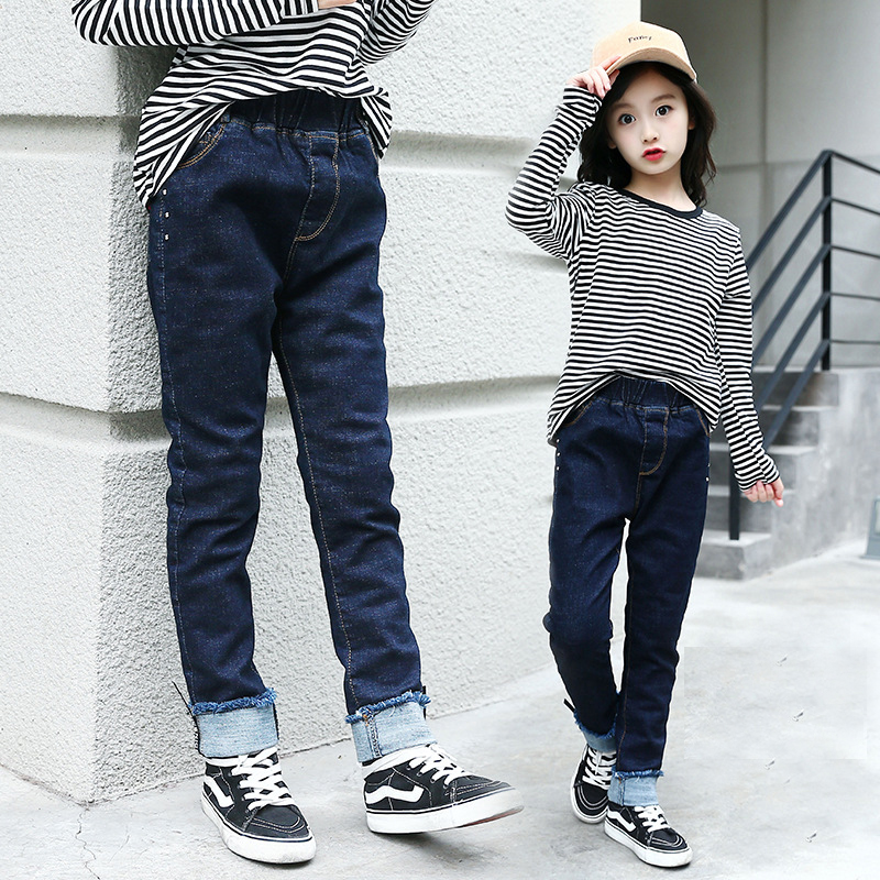 New 2018 Children Clothing Girls Winter Denim Pants Kids Warm Long Trousers for Girls Thickening Pants Kids Clothes Solid Jeans new 2017 spring long length baby girls jeans pants fashion kids loose ripped jeans pants for children hole denim trousers