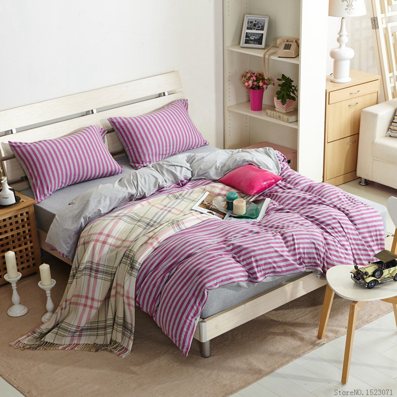 purple plaid knitted cotton duvet cover strip soft flat sheet bedlinen fittedsheet mattress cover