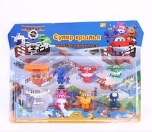 8PCS/Set model toys Super Wings Mini Planes Deformation Airplane Action Figures building Transformation children Christmas Gifts