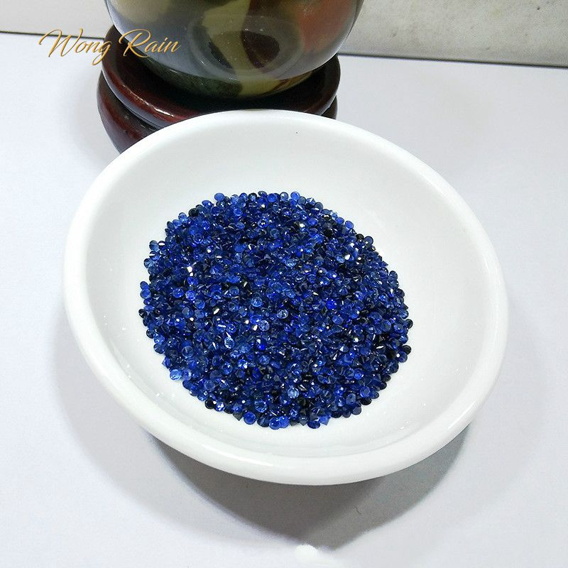 Loose Gemstone Blue Sapphire Rain Natural Wholesale Jewelry Stones-Decoration DIY Round
