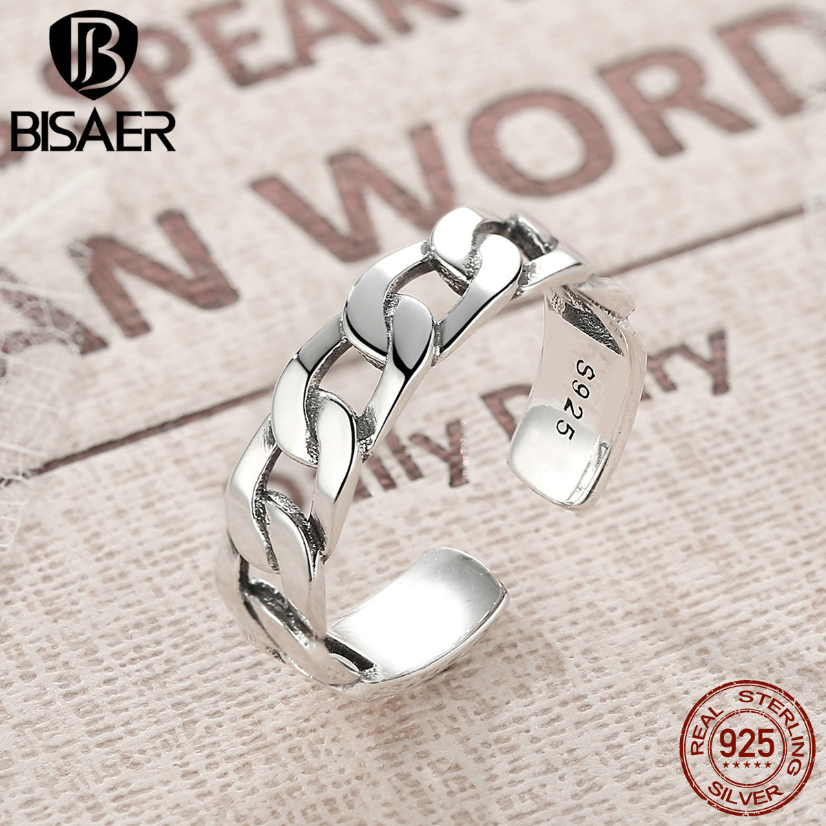 BISAER Vintage 925 Sterling Silver Classic Twine Chain Finger Ring for Women European Sterling Silver Ring Jewelry Anel EER036