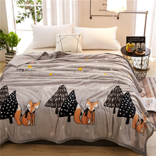 2018 Cartoon Fox Trees Grey Soft Summer Print Thin Blanket Little Throws Coral Fleece Microfiber Plaids Bedsheet Polyester