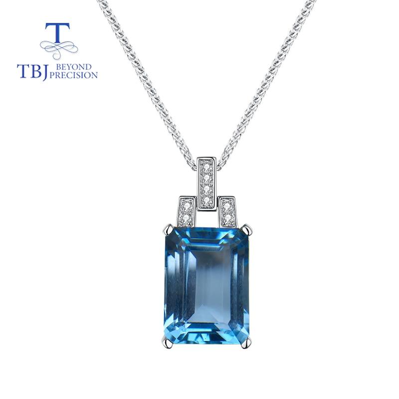 TBJ, classique style naturel bleu ciel topaze pierre précieuse cuting oct 10*14mm en 925 collier en argent pour les femmes porter quotidien meilleur cadeau boîte