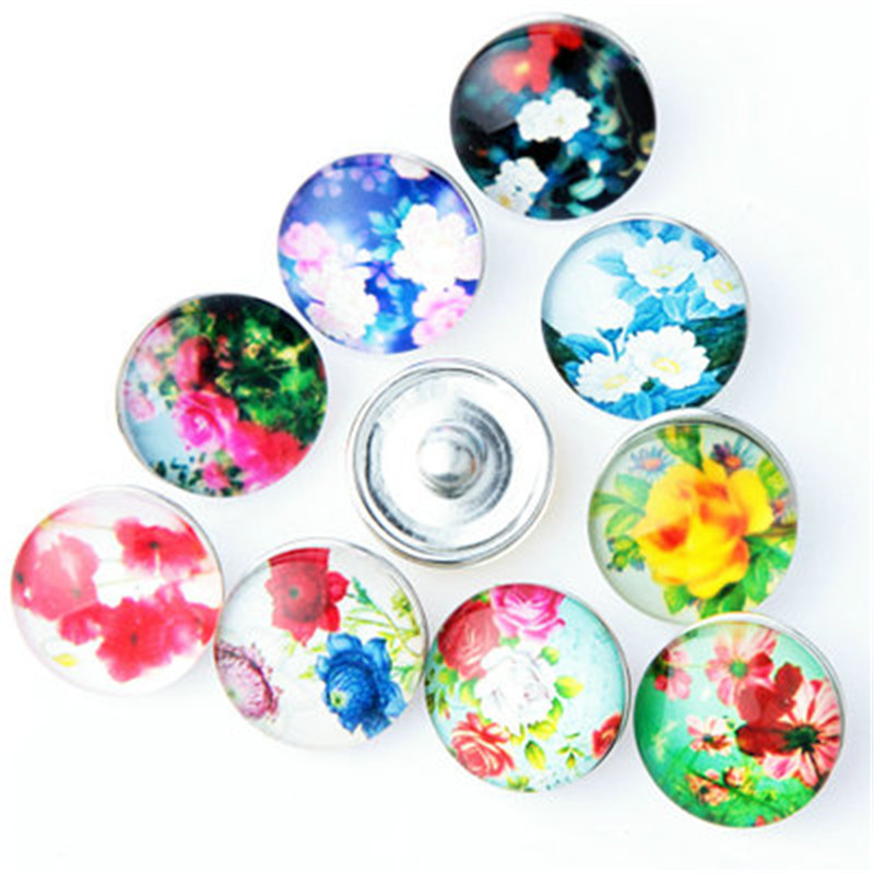 10pcs/lot Mix Style 18mm Flower Snap Buttons For Jewelry Making Diy Alloy Glass Snap Fit 18mm Snap Bracelet Bangles Necklace image