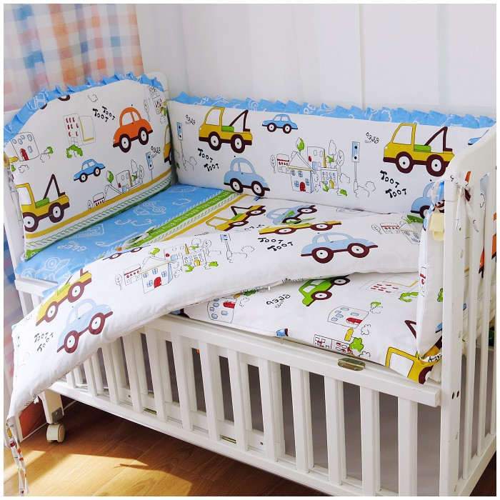 Promotion! 6PCS Baby Cot Baby Bedding Set Character Crib Cotton Baby Bedclothes (bumpers+sheet+pillow cover)