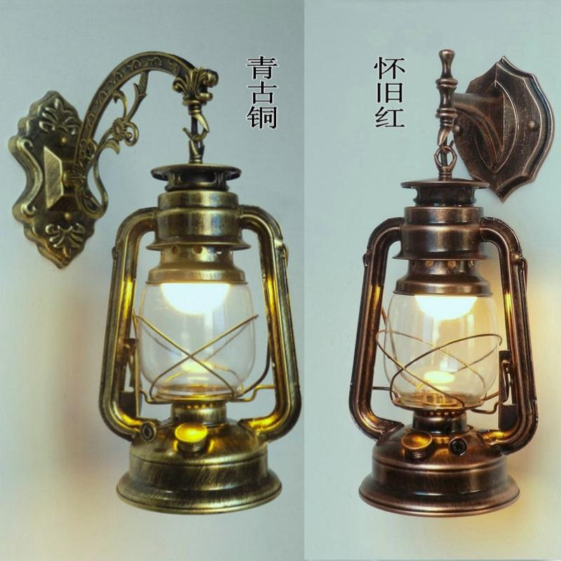 Retro E27 modern antique iron lantern wall lamp wall, living room, kitchen, bedroom, hallway, balcony lamp
