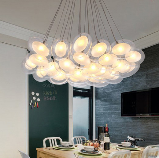 15/19/25/37 heads hanging lights bedroom Bubble Ball Birds' eggs pendant lighting glass shades pendant lights restaurants Lamp 15 19 25 37 heads droplight clear bubble ball goose egg birds eggs duck egg double deck glass ball transparent pendant light