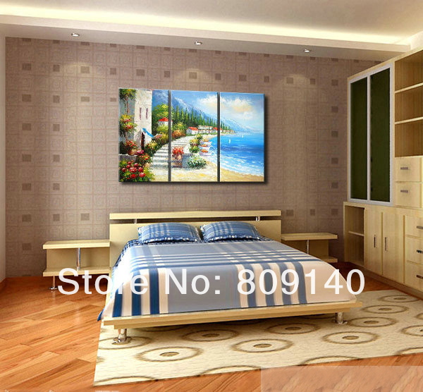 Mediterranean Seascape Oil Painting Canvas Sea Relaxing Handmade Modern Decoration Home Office Hotel Wall Art Decor Free Ship In Calligraphy From