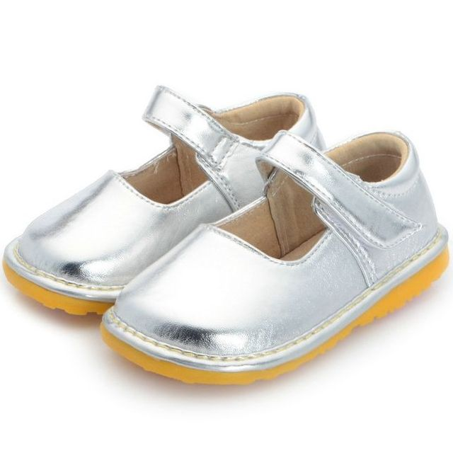 f7590d02339b Solid Sliver Baby Girl Wedding Dress Shoes Toddler Girl Squeaky Shoes Size  3 4 5 6 7 8 9 First Walkers Baby Shoes