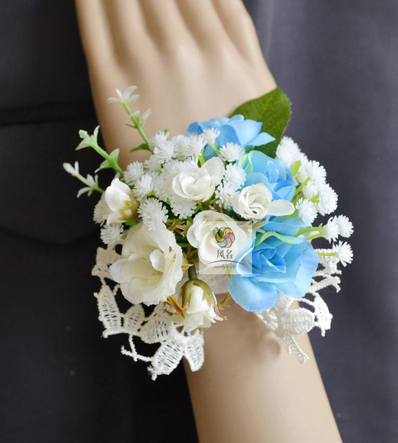5pcs Lot Wedding Party Prom Mother Bride Bridesmaid Hand Wrist Flower Women Corsage Artificial Rose