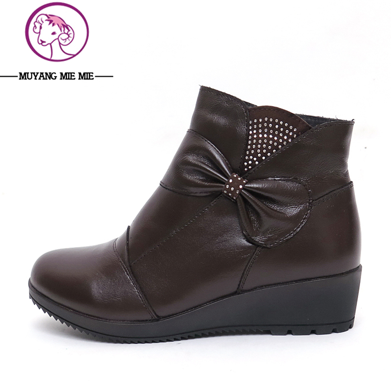 2017 Autumn Winter Genuine Leather Women Boots New Fashion Woman Snow Ankle Boots for Girls Ladies Work Shoes de la chance autumn winter genuine leather suede ankle boots wipe color fashion women s boots new short boots ladies shoes