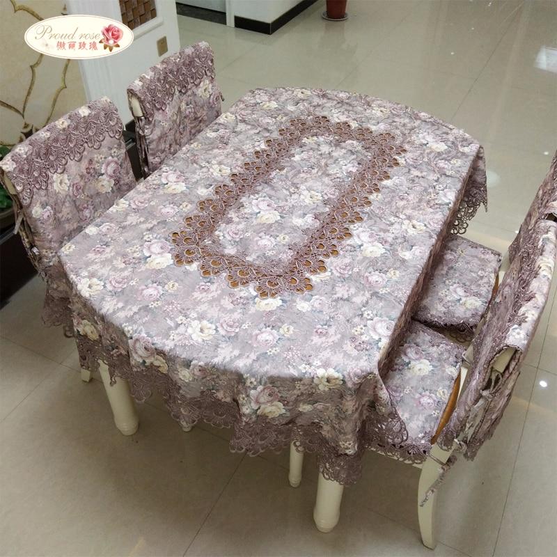 Lepns rožu pastorālais mežģīņu galdauts apaļš galda auduma krēsls spilvena kāzu rotājumi galda audums taisnstūrveida krēsla pārsegs