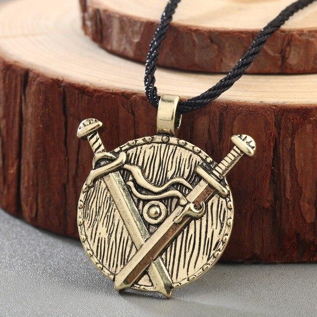 CHENGXUN Valknut Slavo Vichingo Argento Antico Oro Collana Ciondolo Spada  Medievale Gioielli Collana Norvegesi Pagan Wiccan